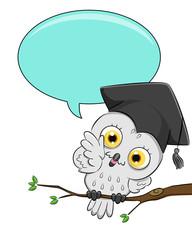 Snowy Owl Graduate Speech Balloon