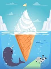 Stickman Kid Narwhal Ice Cream Dive