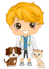 Kid Boy Little Veterinarian