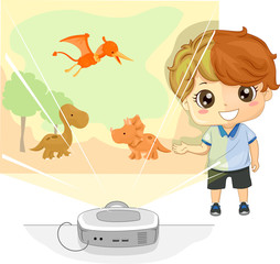 Kid Boy Story Telling Projector