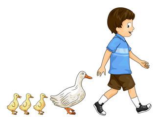 Kid Boy Duck Ducklings Parade