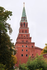 Borovitskaya (Predtechenskaya) tower. Is the tower of the south-western of the Moscow Kremlin. The tower was built in 1490 by the order of Ivan III by the Italian architect Pietro Antonio Solari.