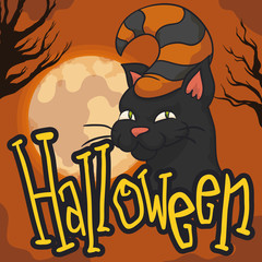 Mischievous Black Cat with Hat for Halloween Celebration, Vector Illustration
