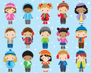 Cute kids children in winter dress vector illustration. Boy and girl in colorful winter outfit.