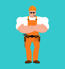 Builder strong. Worker in protective helmet Serious Powerful. Service worker Serviceman hard. Vector illustration