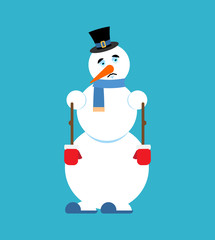 Snowman sad. sorrowful emoji. New Year and Christmas vector illustration