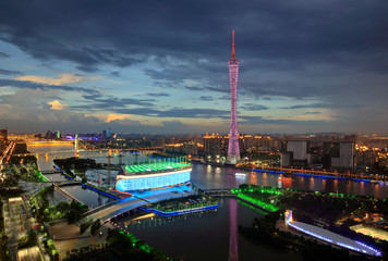 Night view of city architecture in Guangzhou City,Guangdong Province,China