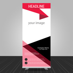 simple red standee roll up banner design with business information