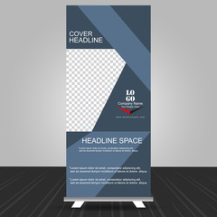 simple bluish grey standee roll up banner design with business information