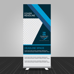 simple blue standee roll up banner design with business information
