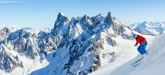 Wall Mural - Skiing Vallee Blanche Chamonix with amazing panorama of Grandes Jorasses and Dent du Geant from Aiguille du Midi, Mont Blanc mountain, Haute-Savoie, France