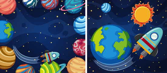 Two space background with planets and rocket