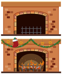 Two fireplaces with christmas ornaments