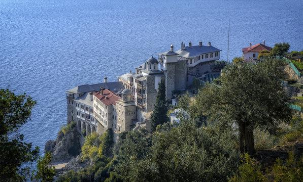 Agia Grigoriou Orthodox monastery at Mount Athos, Agion Oros, Holy Mountain, Halkidiki , Greece.
