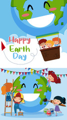 Happy Earth day poster with kids on earth