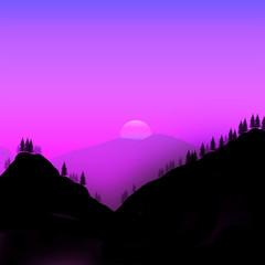 Minimalist design illustration of mountains at twilight