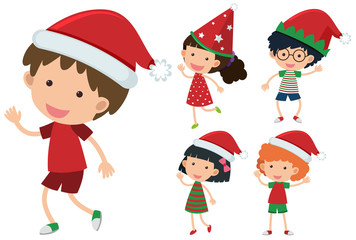Children wearing christmas hats