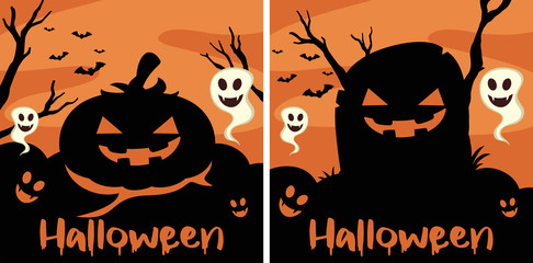 Border template with halloween creatures