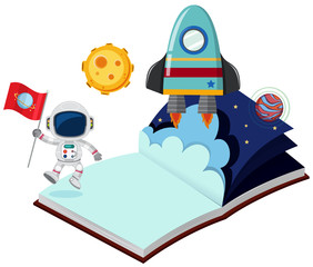 Astronaut and rocket in the book