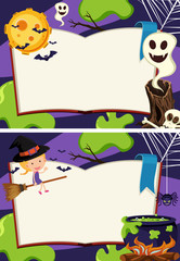 Two border templates with halloween night