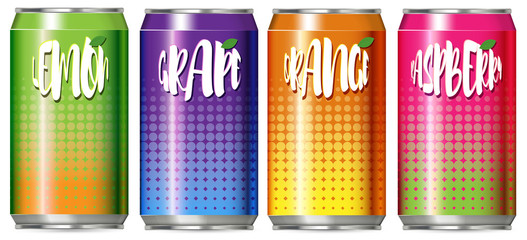 Four cans of different kind of fruit juice