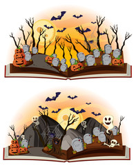 Two halloween scenes at graveyard