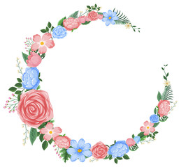Border design with pink and blue flowers
