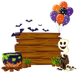 Wooden board with bats and balloons
