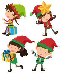 Four christmas eleves with happy face