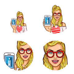 Set of vector pop art round avatar icons for users of social networking, blogs, profile icons. Young blond girl in a red glasses demonstrates the ease of using electronic payments