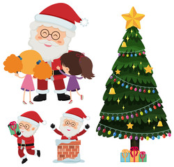 Santa claus and happy children with presents