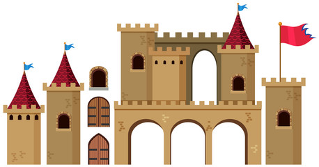 Castle towers on white background