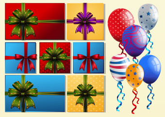 Present boxes and colorful balloons