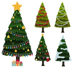Five christmas trees with ornaments