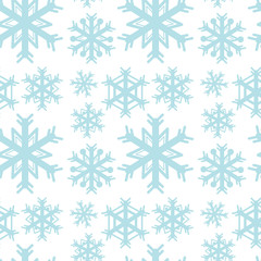 Seamless background template with blue snowflakes