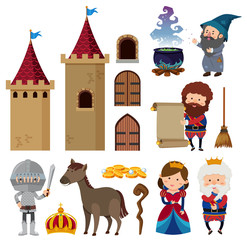Fairytale characters and castle towers