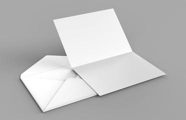 Blank white realistic baronial envelopes mock up. 3d rendering illustration.