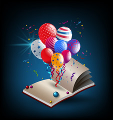 Book with party balloons