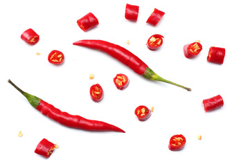 Foto op Plexiglas Hot chili peppers sliced red hot chili peppers isolated on white background top view