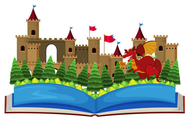 Book with castle towers and dragon