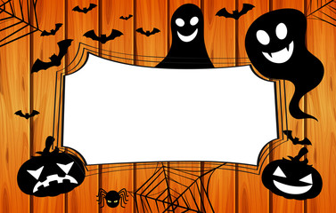 Border template with jack-o-lantern and spider web