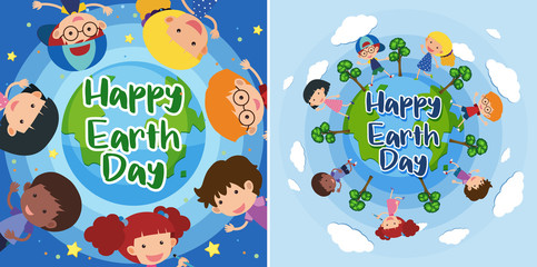 Happy Earth day with happy kids on earth