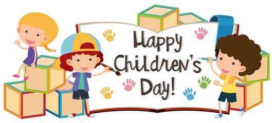 Happy children's day with kids and blocks