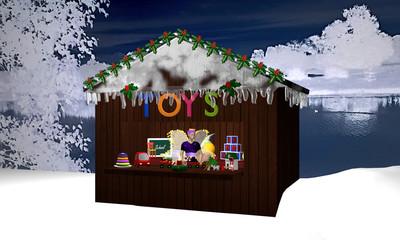 Weihnachtshütte in nächtlicher Winterlandschaft mit Spielzeug und einer Weihnachtsfee