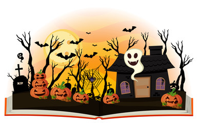 Halloween book with jack-o-lantern and haunted house
