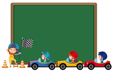 Border template with kids driving toy cars