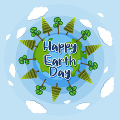 Happy Earth day poster design with trees on earth