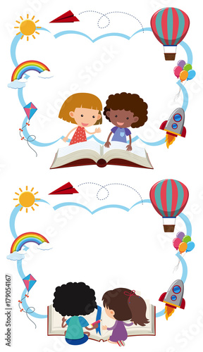 Two border templates with kids reading books\