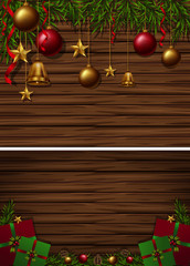 Two wooden board background with christmas ornaments