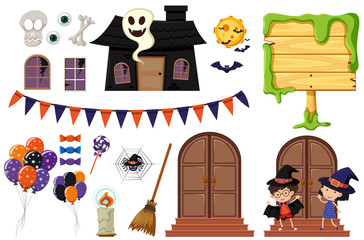 Halloween elements with haunted house and kids